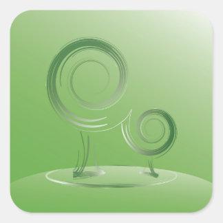 vert de planète sticker carré