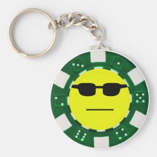 vert de pokerface porte-clé rond