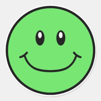 Vert de sourire 0001 d'autocollants de visage sticker rond