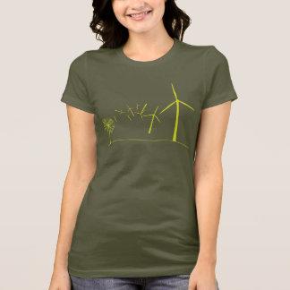 Vert de turbines de vent t-shirt