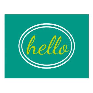Vert des eaux et de chaux de turquoise bonjour carte postale