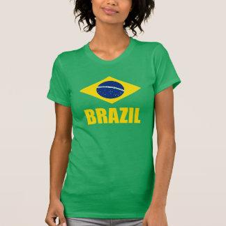 Vert des textes jaunes de drapeau du Brésil T-shirt