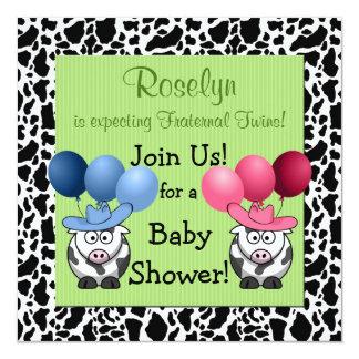 Vert d'invitation de baby shower de jumeaux