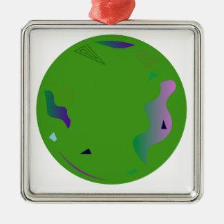 Vert d'OPALE. Illustration originale Ornement Carré Argenté