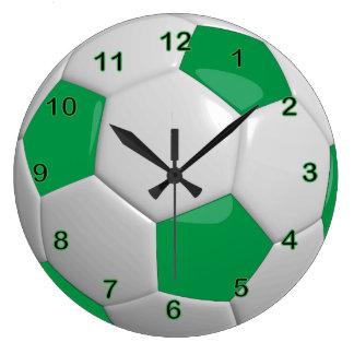 Vert du ballon de football | grande horloge ronde