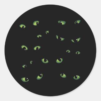 Vert effrayant de yeux autocollants ronds