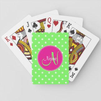 Vert élégant de nom d'initiale de monogramme de jeux de cartes