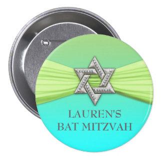 Vert élégant d'étoile de bat mitzvah sur toute badge rond 7,6 cm
