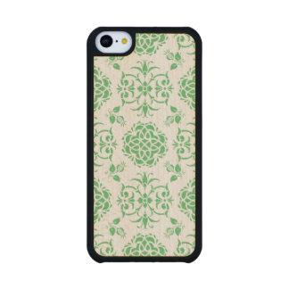 Vert et blanc floraux mignons de motif de Stylie Coque iPhone 5C En Érable