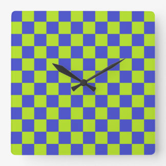 Vert et bleu de chaux Checkered Horloge Carrée