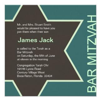Vert et Brown 2 de Mitzvah de barre d'étoile de Da Cartons D'invitation