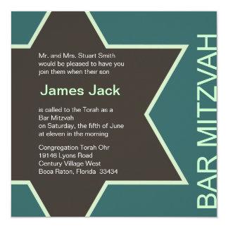 Vert et Brown 2 de Mitzvah de barre d'étoile de Carton D'invitation 13,33 Cm