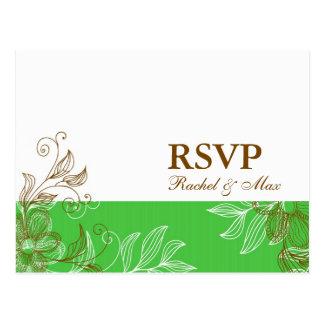 Vert et carte postale florale de Brown RSVP
