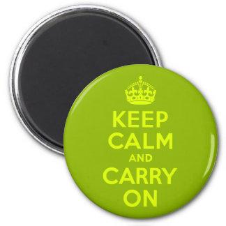 Vert et Chartreuse gardez le calme et continuez Magnet Rond 8 Cm