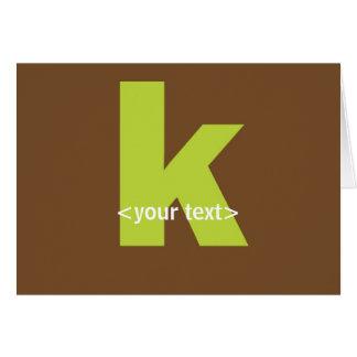 Vert et monogramme de Brown - lettre K Carte De Vœux