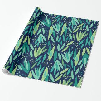 Vert et motif tropical bleu marine de feuilles papier cadeau