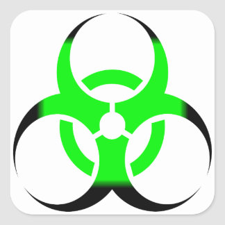 Vert et noir de zombi de symbole de Biohazard Sticker Carré
