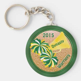 Vert et porte - clés d'idées de partie de pom-pom porte-clé rond