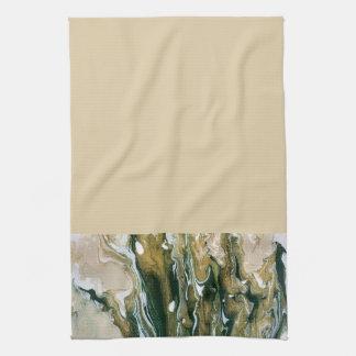 Vert et serviette de cuisine abstraite de Tan