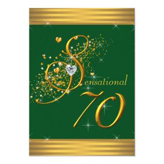 Vert et soixante-dixième invitations de fête
