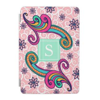 Vert floral assez rose de menthe de monogramme de protection iPad mini