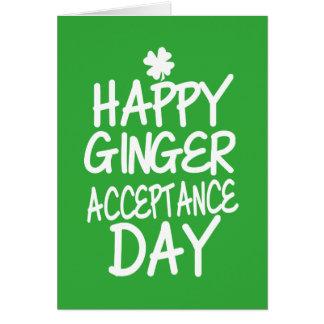 Vert heureux de jour d'acceptation de gingembre carte de vœux