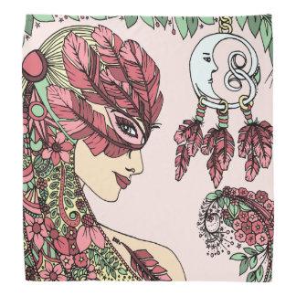 Vert jaune de plume de masque de visage rose mauve bandana