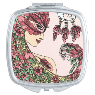 Vert jaune de plume de masque de visage rose mauve miroir de maquillage