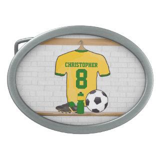 Vert jaune personnalisé de jersey de football boucle de ceinture ovale