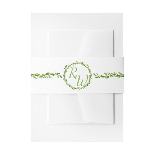 Vert l'épousant sylvatique et blanc de vigne de bandeau de faire-part
