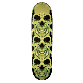 Vert mauvais grimaçant les crânes gothiques plateaux de skateboards customisés