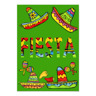 Vert mexicain d'invitations de Cinco De Mayo de Carton D'invitation 12,7 Cm X 17,78 Cm