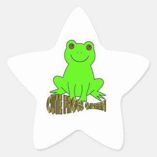 Vert mignon de grenouilles sticker en étoile