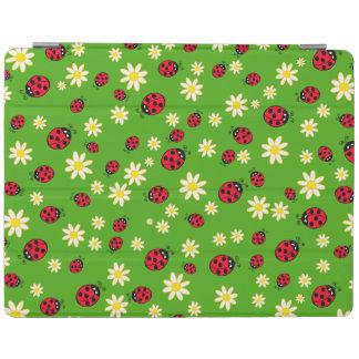 vert mignon de motif de fleur de coccinelle et de protection iPad