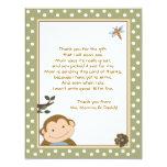 Vert mignon de singe/cartes Merci de Brown Carton D'invitation 10,79 Cm X 13,97 Cm
