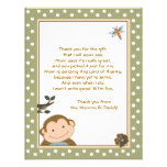 Vert mignon de singe/cartes Merci de Brown Invitations