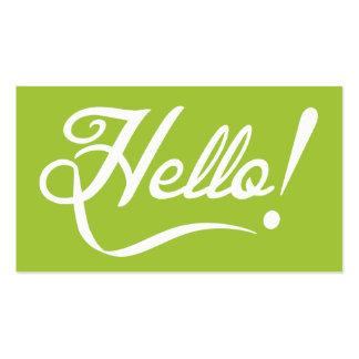 Vert moderne - bonjour carte de visite standard