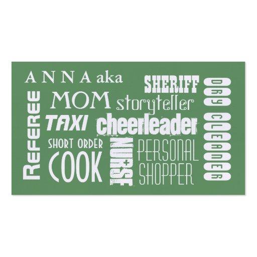 Vert moderne de télécarte de maman modèles de cartes de visite