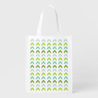 Vert moderne, menthe, Aqua, motif géométrique Cabas Épicerie