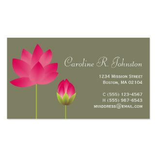 Vert moderne rose rouge de thé de fleur de lotus carte de visite standard