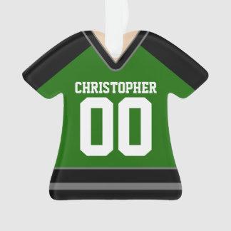 Vert/noir/hockey fait sur commande argenté Jersey