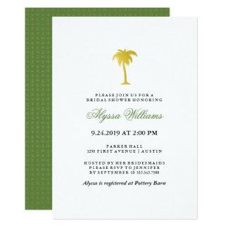 Vert nuptiale de la douche | de Faux de palmier Carton D'invitation 12,7 Cm X 17,78 Cm