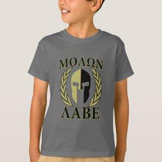 Vert olive de lauriers spartiates de masque de t-shirt