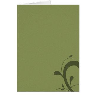 Vert olive vide chic avec la note de Flourish Cartes De Vœux