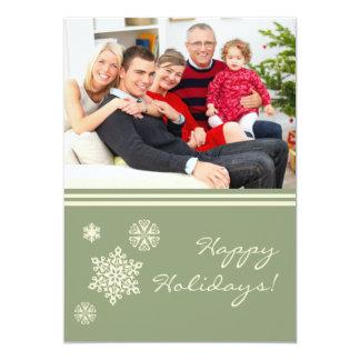Vert plat de carte de vacances de famille de cartons d'invitation