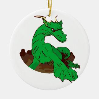 Vert réduit dragon.png ornement rond en céramique