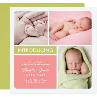 Vert rose multiple du faire-part de naissance | de