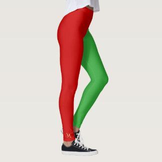 Vert rouge de petit d'aide de Santa d'amusement Leggings