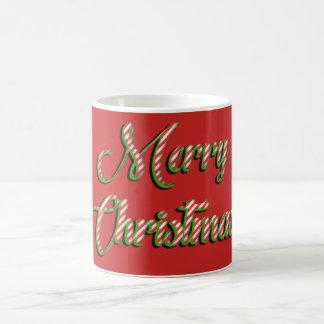 Vert rouge de salutation de Joyeux Noël de tasse