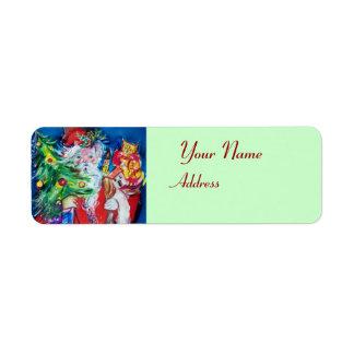 Vert rouge du PÈRE NOËL, d'ARBRE de NOËL ET de Étiquette D'adresse Retour